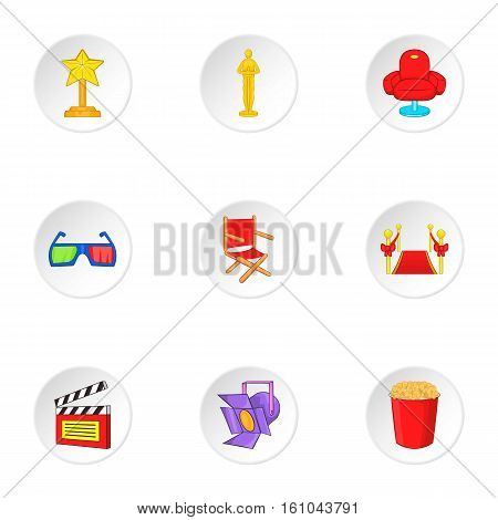 Watching movie icons set. Cartoon illustration of 9 watching movie vector icons for web
