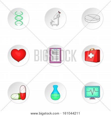Treatment icons set. Cartoon illustration of 9 treatment vector icons for web
