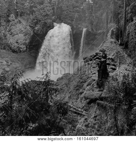 Sahalie Falls on the Mckenzie River in Western Oregon with powerful spring runoff.