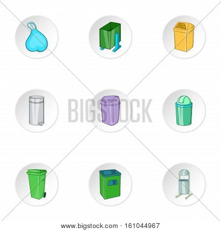 Garbage icons set. Cartoon illustration of 9 garbage vector icons for web