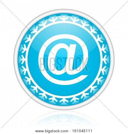 At symbol vector icon. Winter and snow design round web blue button. Christmas and holidays pushbutton.