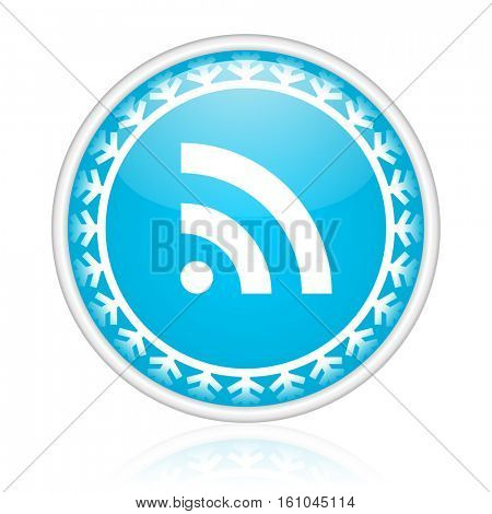 Wi Fi vector icon. Winter and snow design round web blue button. Christmas and holidays pushbutton.