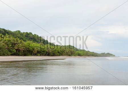 Big open sand beach Montezuma Costa Rica