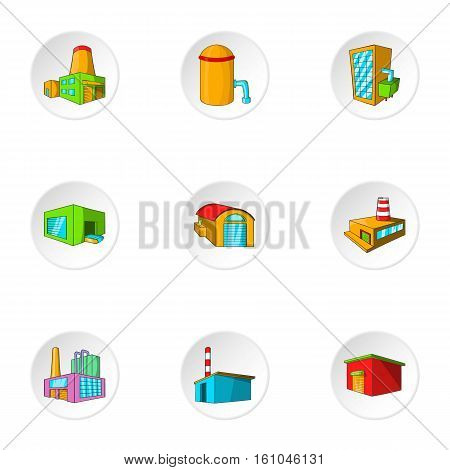 Industrial complex icons set. Cartoon illustration of 9 industrial complex vector icons for web