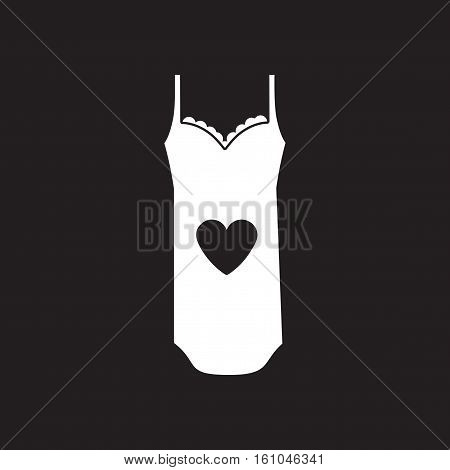 Flat icon in black and  white nightdress
