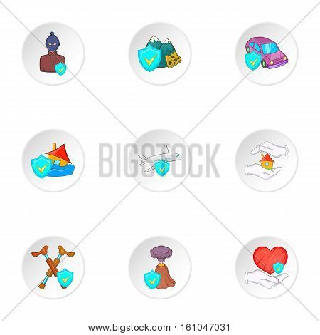 Emergency icons set. Cartoon illustration of 9 emergency vector icons for web