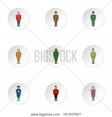 Types of soldiers icons set. Cartoon illustration of 9 types of soldiers vector icons for web