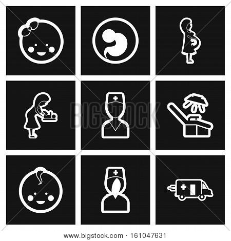 assembly stylish black and white icons obstetrics Gynecology