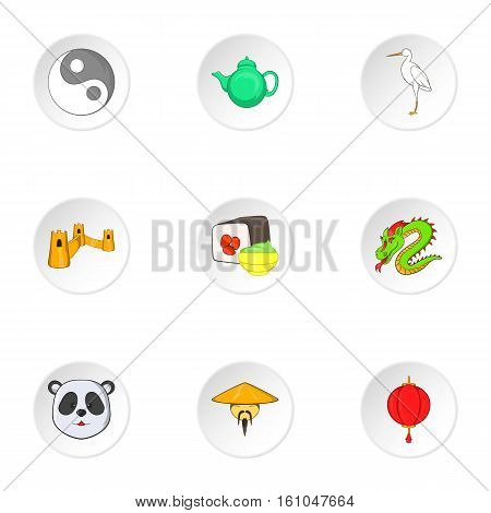 China icons set. Cartoon illustration of 9 China vector icons for web