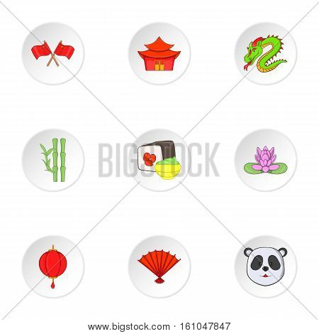Country of China icons set. Cartoon illustration of 9 country of China vector icons for web