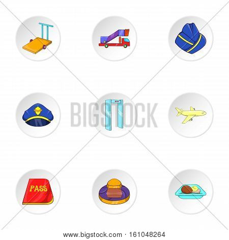 Airport check-in icons set. Cartoon illustration of 9 airport check-in vector icons for web