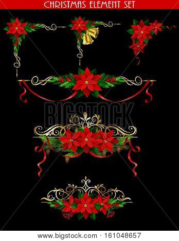 Christmas decoration set with evergreen treess holly golden bels and poinsettia isolated on black with swirls for corners