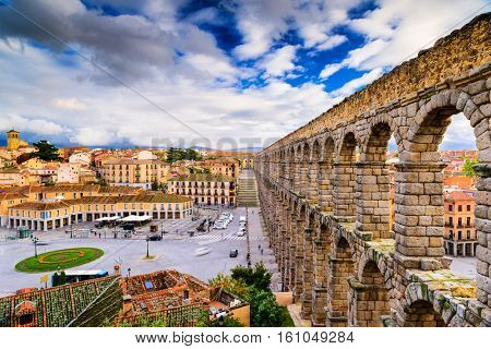Segovia, Spain at the ancient Roman aqueduct.