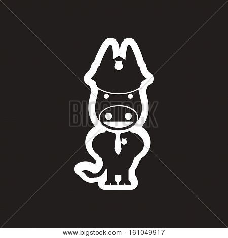 style black and white icon donkey cop