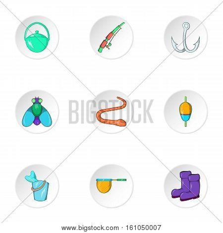 Fishing sport icons set. Cartoon illustration of 9 fishing sport vector icons for web