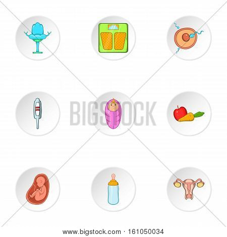 Pregnancy icons set. Cartoon illustration of 9 pregnancy vector icons for web