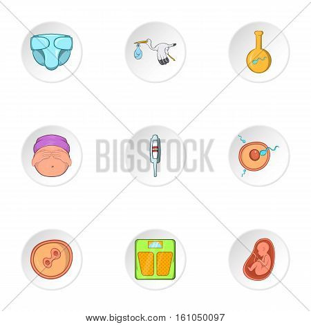 Kid in mother stomach icons set. Cartoon illustration of 9 kid in mother stomach vector icons for web