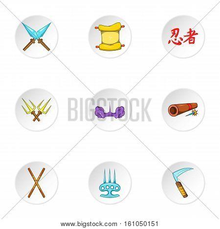 Ninja icons set. Cartoon illustration of 9 ninja vector icons for web