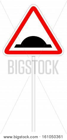 Warning traffic sign isolated on white 3D illustration - Bumps Road