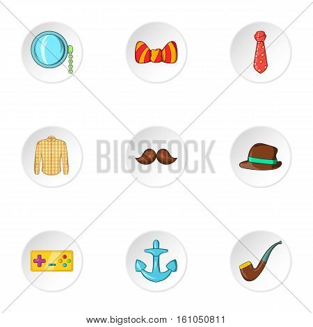 Subculture youth icons set. Cartoon illustration of 9 subculture youth vector icons for web
