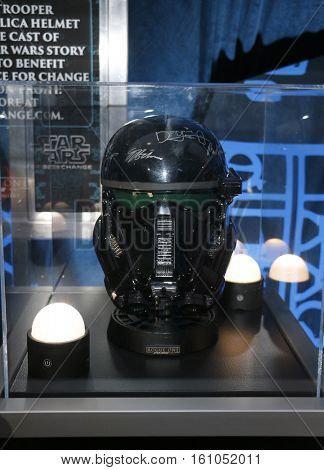 A Death Trooper helmet at the World premiere of 'Rogue One: A Star Wars Story' held at the Pantages Theatre in Hollywood, USA on December 10, 2016.