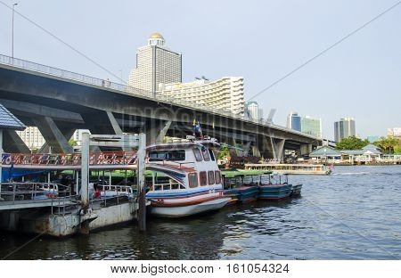 BANGKOK january 2 :Ferry boat harbour at Chao Phraya River, Chao Phraya River is a major river in Thailand,more ferry boat for transport service.on january 2, 2015 in Bangkok, Thailand