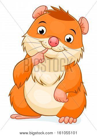 Vector illustration of smiling cute cartoon hamster.