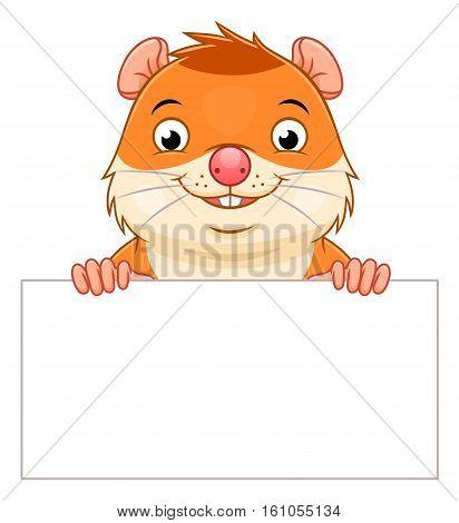 Cute cartoon hamster holding white blank. Vector design element.