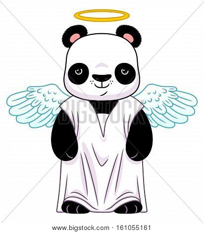 Cute cartoon panda in the angel suit isolated on the white background.