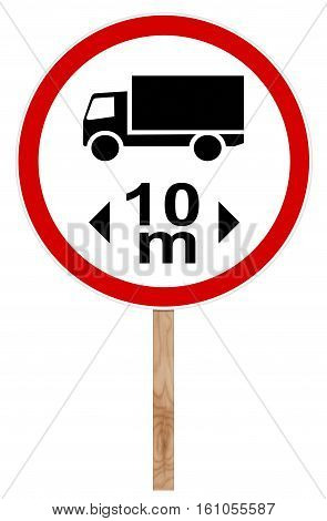 Prohibitory traffic sign isolated on white 3D illustration - Length limit