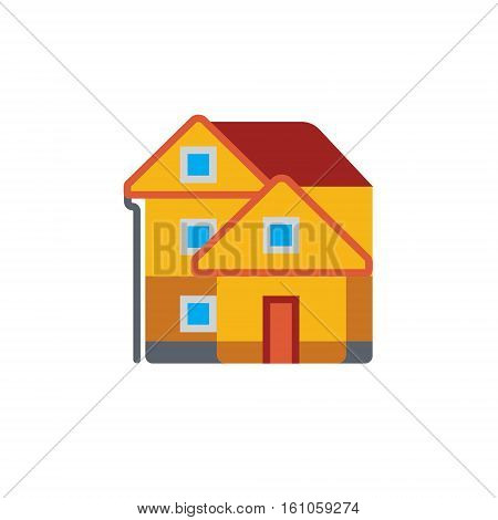 Vector icon or illustration showing real estate business with house in material design style
