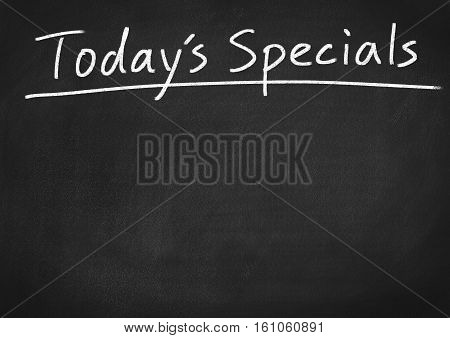 today's specials text on blackboard chalkboard background