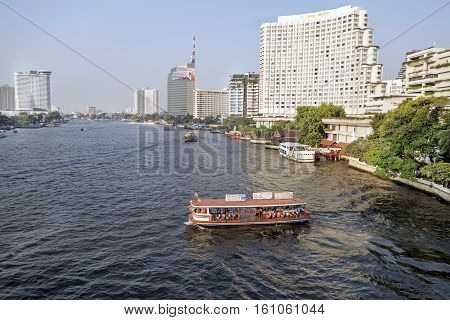 Bangkok January 2 : Chao Phraya River, Chao Phraya River Is A Major River In Thailand, With Its Low