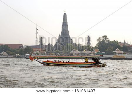Bangkok January 5 :ferry Boat At Chao Phraya River, Chao Phraya River Is A Major River In Thailand,m