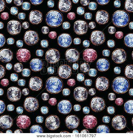 Crystal gemstone seamless pattern. Diamond adamant ruby sapphire stones gems gold. Shiny fashion black background. Raster illustration.