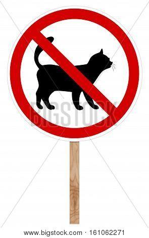 Prohibitory traffic sign isolated on white 3D illustration - Cat