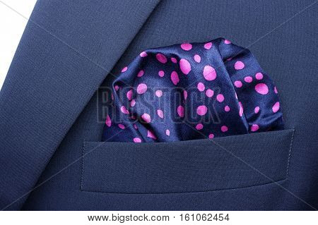pocket square - handkerchief in the breast pocket of a man's blue wool suit, ceremonial, occasional wear