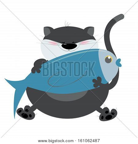Cat cartoon fish holds in paws. I like to fish. Vector illustration