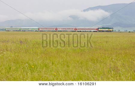 passenger train, Strazovske Vrchy, Slovakia