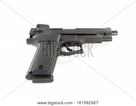 a hand gun on a white background
