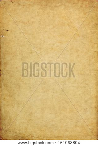 Shabby aged paper background with messy texture and dark torn borders