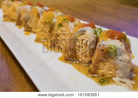 Fusion Style Of Japanese Sushi Row