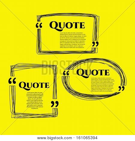 Set of vector scribble hand drawn quote boxes with text isolated. Quote, commas, message, quote blank, template. Quote bubble. Quote form.