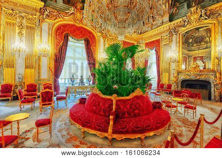 PARIS FRANCE - JULY 03 2016 : Apartments of Napoleon III. Louvre Museum is the biggest museum in word with nearly 35000 exhibits.