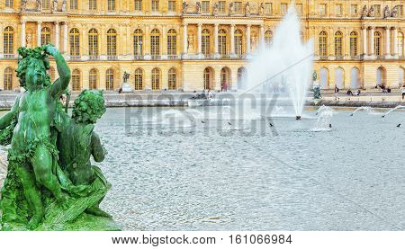 Versailles, France - July 02, 2016 : Ponds (water Parterres), Statues In Front Of The Main Building