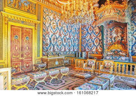 Fontainebleau, France - July 09, 2016 : Fontainebleau Palace Interiors. The Empress Chamber. Chateau