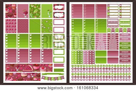 Planner Stickers . Vector illustration set .