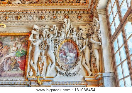 Fontainebleau, France - July 09, 2016 : Fontainebleau Palace Interiors. The Guard Room. Chateau Was