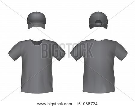 Black men's t-shirts and baseball cap. Front and back views vector isolated illustration.