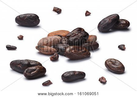 Set Of Dried Cocoa Beans, Clipping Paths